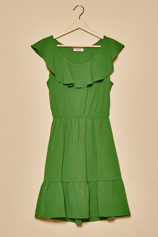 """Kelly"" Green Elastic Waist Dress"