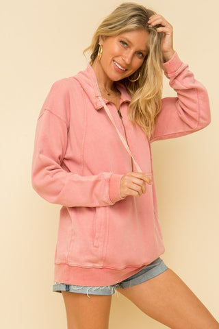 """Coral Breeze"" Half Zip French Terry Pullover Top"