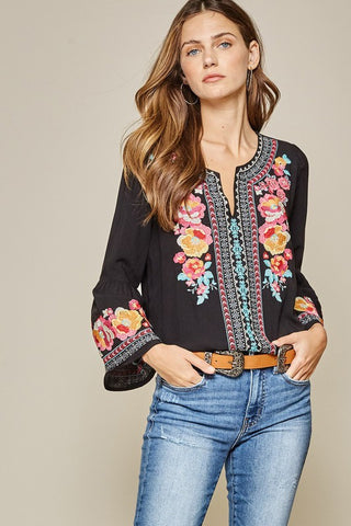 Savannah Jane Black Embroidered Top
