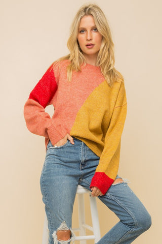 """Rock Candy"" Colorblock Sweater Top"