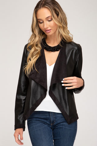 """Sandy"" Vegan Black Leather Jacket"