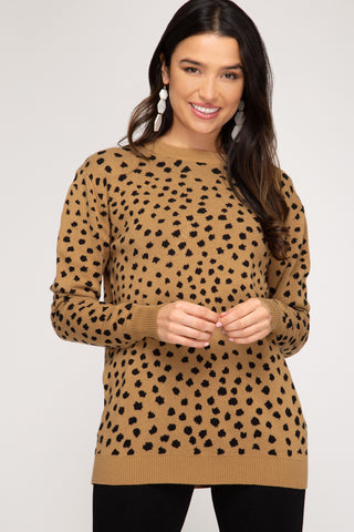 """Amy"" Camel & Black Long Sleeve Sweater Top"