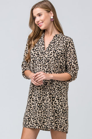 """Allison"" Taupe Leopard Dress"