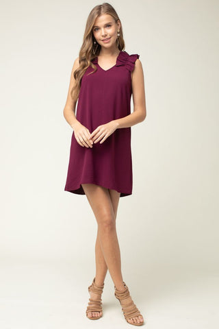 """Olivia"" Burgundy V-Neck Dress with Frill Shoulder Detail"