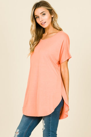 """Rise & Shine"" Coral Rounded Hem Tee Top"
