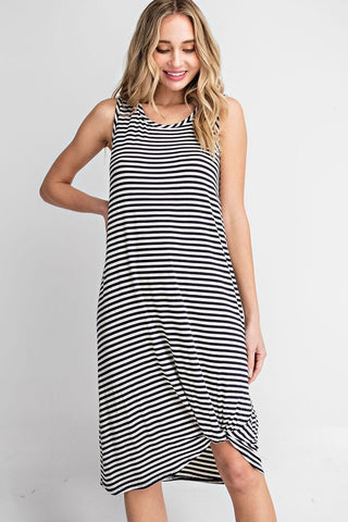 """Carly"" Navy & White Striped Dress"