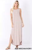 """Jen"" Striped Sleeveless Side Slit Maxi Dress"