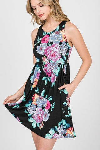"""Midnight Floral"" Side Pocket Dress"