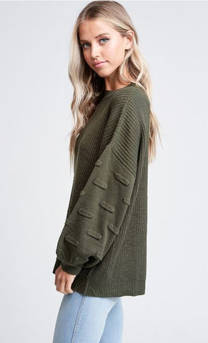 """Emmy"" Dark Green Bubble Sleeve Sweater Top"