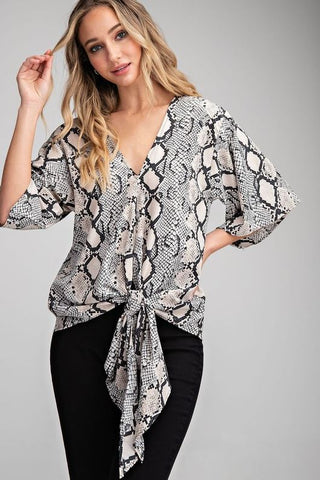 """Emerson"" Snake Print Tie Front Top"