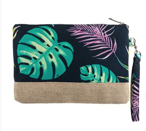 """Tropical"" Navy Wristlet"