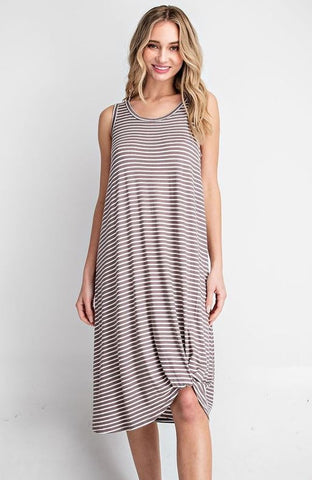 """Carly"" Cocoa & White Striped Dress"