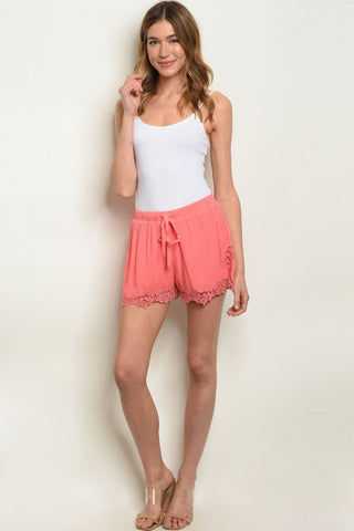 """Harper"" Coral Lace Shorts"