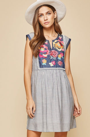 """Montgomery"" Denim Shift Dress"