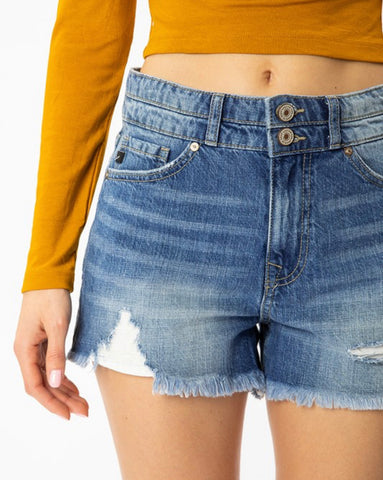 """Rachel"" High Rise Mom Shorts - Medium Wash Denim"