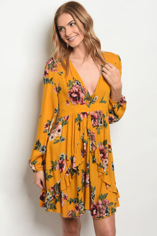 """Autumn Dreaming"" Mustard Floral Dress"