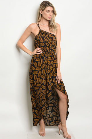 """Brandy"" Navy & Mustard Palm Print One Shoulder Maxi Dress"