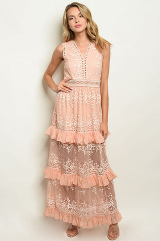"""Make Me Blush"" Tiered Ruffle Maxi Dress"