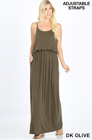 """Cam"" Dark Olive Maxi Dress"