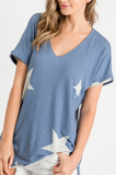 """American Girl"" Soft Knit Top in Denim Blue"