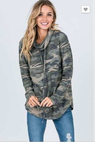 """Deer Season"" Cowl Neck Camo Top"