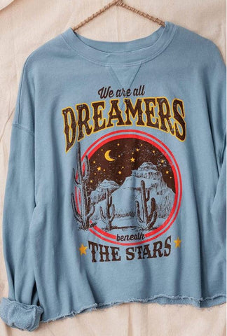 """Dreamers"" French Terry Cropped Pullover Top"