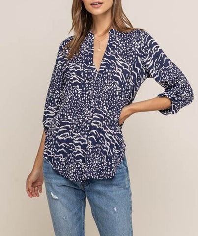 Lush Navy & Cream Tunic Top