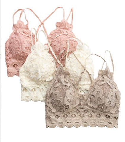 """Dusty Rose"" Lace Bralette (Rear)"