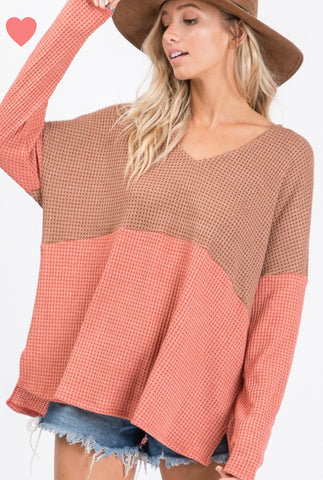 """Sawyer"" Rust & Taupe Long Sleeve Waffle Top"