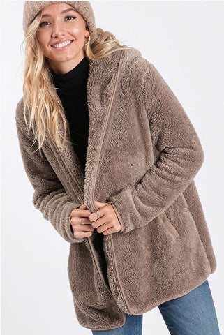 Toffee Nut Latte Open Faux Fur Jacket