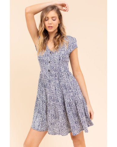 """Sarah"" Navy & White Animal Print Dress"