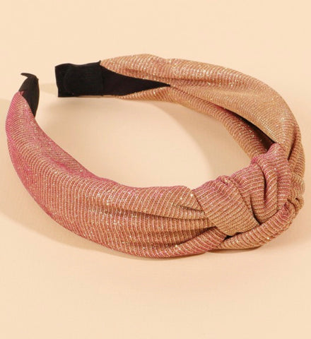 """Dusty Rose"" Top Knot Headband"
