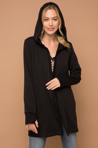 """Ketchikan"" Black Hooded Cardigan Top"