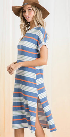 """South Haven"" Navy Stripe Midi Dress with Slit"