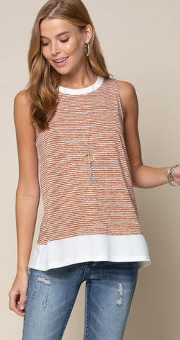 """Molly"" Orange & White Striped Sleeveless Top"