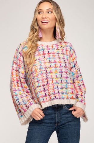 """Candy-Coat"" Wide Sleeve Tweed Pullover Sweater Top"