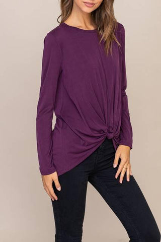 """Wine Berry"" Knotted Front Top"