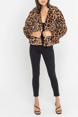 """Christmas Cat"" Leopard Jacket"