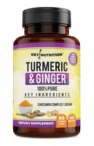 Turmeric Curcumin Complex 1,300mg with Ginger, Piperine, anti-inflammatory, antioxidant - by Key Nutrition