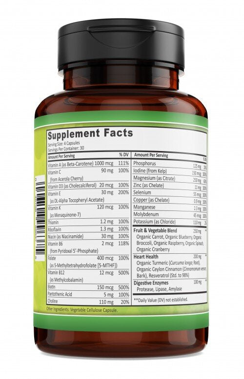 Whole Food Multivitamin for Men (label view) - Premium Men's Vitamin, by Key Nutrition