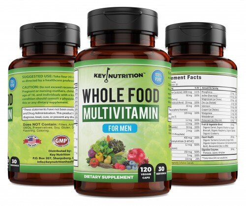 Whole Food Multivitamin for Men (3 bottle views) - Premium Men's Vitamin, by Key Nutrition