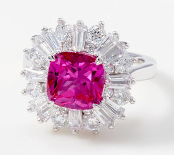 TOVA® Diamonique® Simulated Pink Topaz Ring