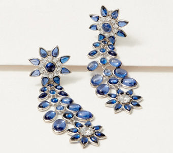TOVA® Diamonique® Tanzanite Flower Statement Earrings