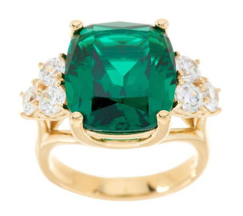 TOVA Diamonique Simulated Emerald Ring, 14K Clad