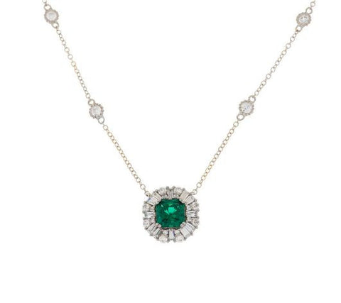 TOVA Diamonique Simulated Emerald Necklace, Sterling