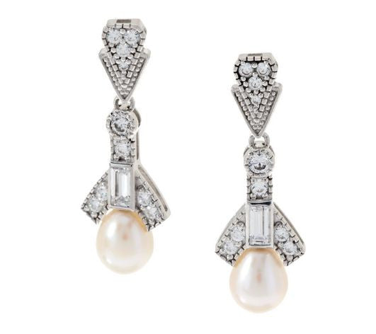 TOVA Diamonique Vintage Style Cultured Pearl Earrings, Sterling