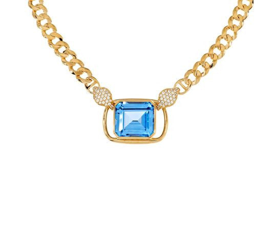"TOVA Diamonique Simulated Aquamarine 18"" Necklace, 14K Clad"
