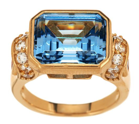 TOVA Diamonique Simulated Aquamarine Ring, 14K Clad
