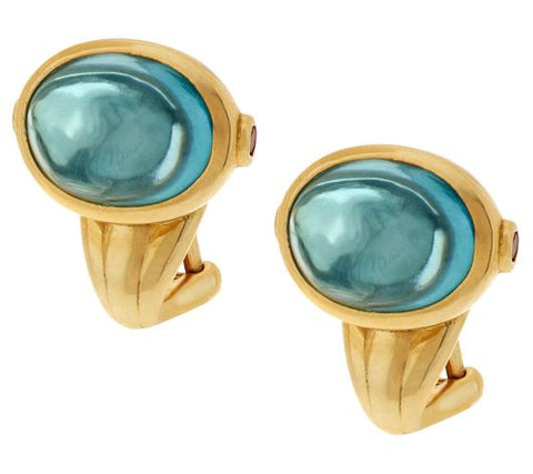 TOVA Simulated Aquamarine Earrings, 14K Clad