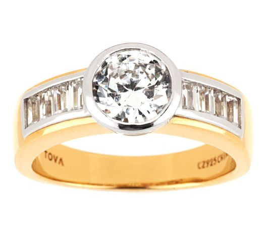 TOVA Diamonique Round & Baguette Ring, 14K Clad